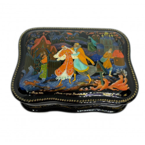 """Lacquer miniature of Palekh """" Song of the merchant"""""""