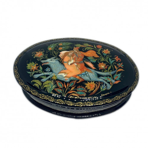 "Lacquer miniature Palekh "" Ivan Tsarevich and the gray wolf"""