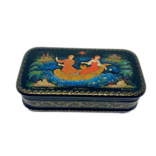 "Lacquer miniature of Palekh "" on a boat"""