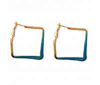 """Earrings """"Golden squares"""", blue"""