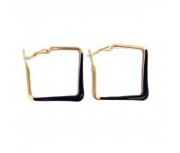 """Earrings """"Golden squares"""", black"""