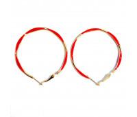 """Earrings """"Golden rings"""" thin, red"""