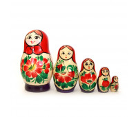 "Matryoshka ""Vyatskaya, red scarf"", 5 pieces (Russian Babushka doll)"