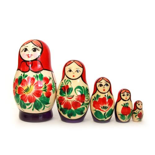"""Матрёшка """"Вятская, в красном платке"""", 5 мест"""